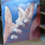 réalisation dans nos locaux d un tableau en verre de fusing par 2 artistes peintres